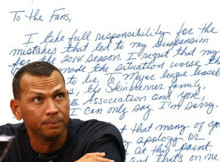 Fragmento de la carta de Alex Rodríguez.