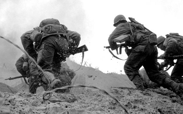 Soldados de Estados Unidos en la batalla